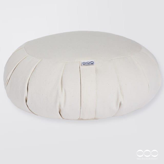 Yoga Meditation Cushion Round Buckwheat Nature White